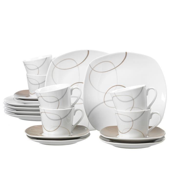 Service à Café Ritzenhoff & Breker Alina Marron, Blanc - Marron, Porcelaine, 18 Pièces