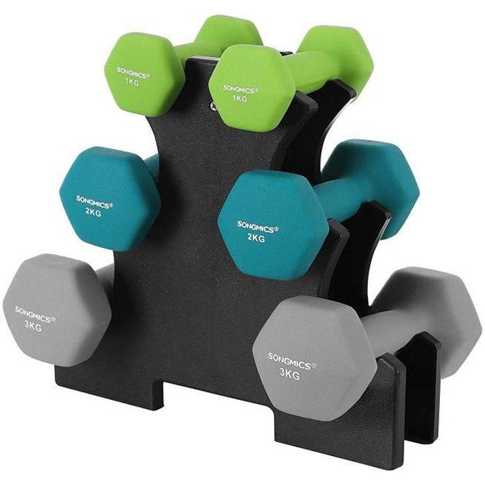 SONGMICS Set haltère, 3 Paires, 2 x 1 kg, 2 x 2 kg, 2 x 3 kg, Support de Rangement, Revêtement en néoprène antiglisse, SYL612GN