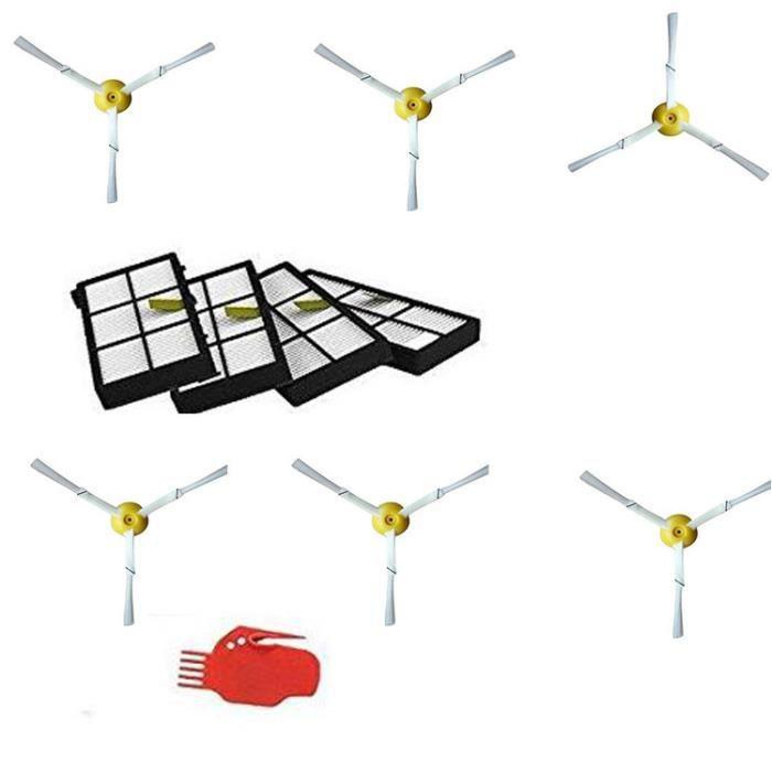 STOEX® Brosses latérales et Filtre HEPA et Outils de nettoyage de rechange pour aspirateur iRobot Roomba 800 900 Series 860 870 ...