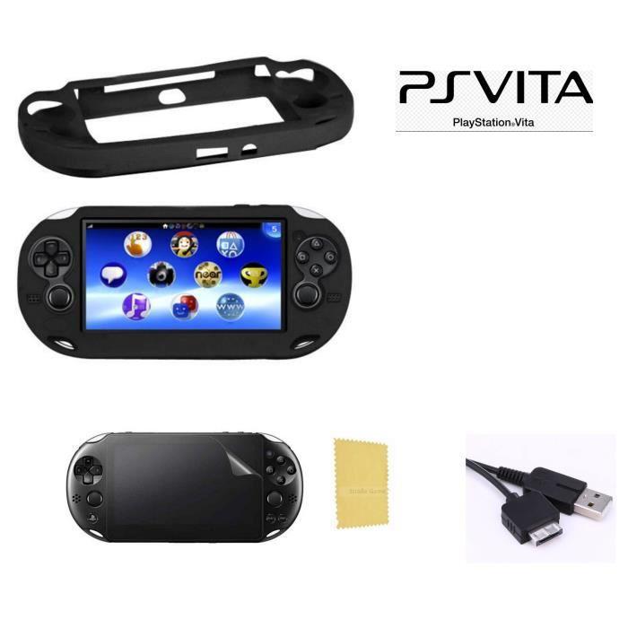 Pack 3 en 1 Sony PS Vita 1000 : Housse silicone noir - Câble chargeur synchroniation USB - Film Protection écrans