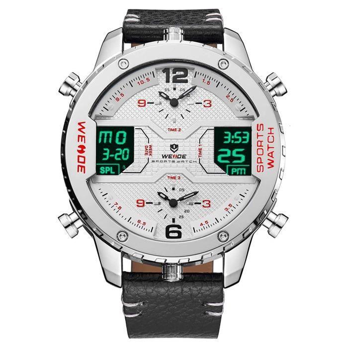 Weide Montre-bracelet pour homme, 3 fuseaux horaires, affichage analogique LCD, calendrier, date, jour, avec bracelet en cu 2071