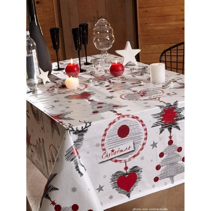 nappe en toile cir e ronde 140 cm christmas noel achat vente nappe de table cdiscount. Black Bedroom Furniture Sets. Home Design Ideas