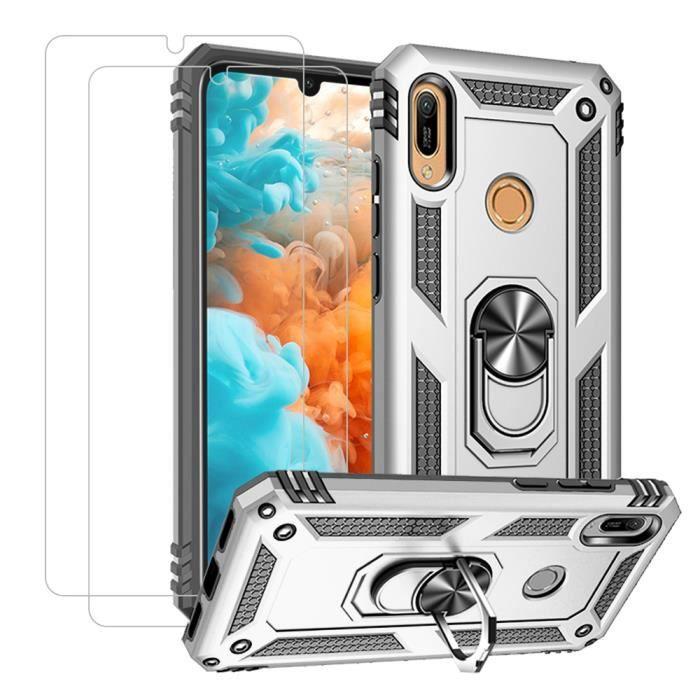 Coque Samsung Galaxy A50 et [2 Pack] Verre Trempé Double Couche Armure 360°Ring Stand Support Voiture Magnétique Étui Argent
