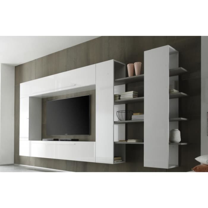ensemble tv blanc laqu et bois gris chany gris blanc achat vente meuble tv ensemble tv. Black Bedroom Furniture Sets. Home Design Ideas
