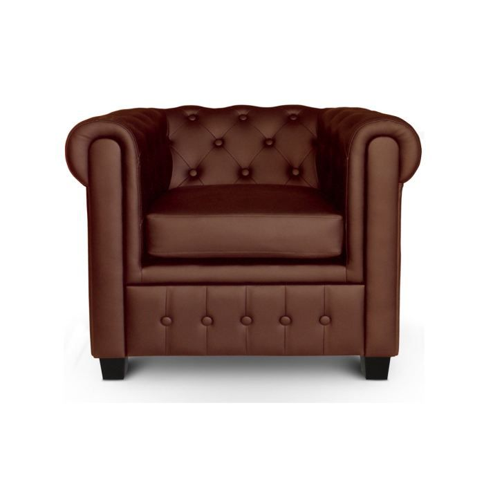 Fauteuil chesterfield pu capitonn marron james achat - Fauteuil chesterfield occasion ...