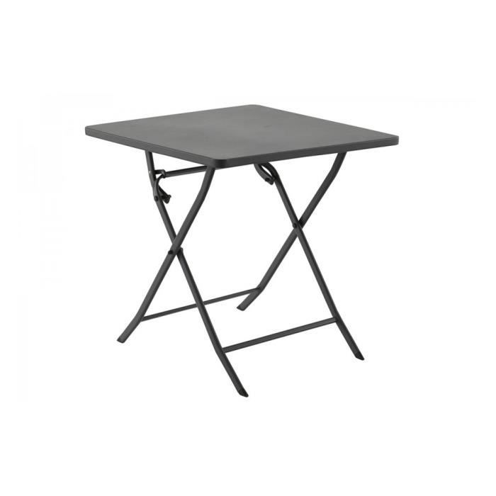 Table m tal carree greensboro gris hesperide achat - Table de jardin metal ...