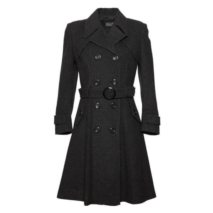 Creme Laineamp; Hiver Cachemire La Ceinturé Long Femme Manteau Noir De WIYEH29D