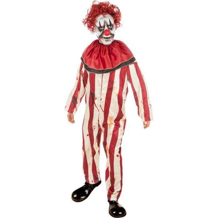 Halloween il tueur masque de clown rouge cheveux bouclés Kit Déguisement Effrayant Cirque Perruque