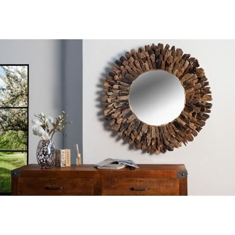 miroir rond en bois flotte driftwood 100 cm achat. Black Bedroom Furniture Sets. Home Design Ideas