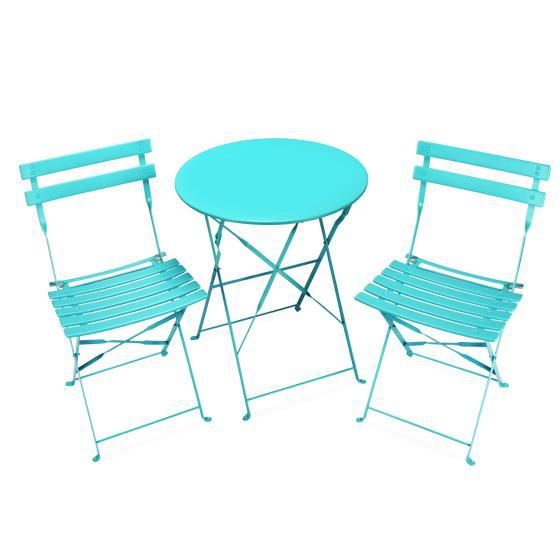 salon de jardin pliant pop bleu turquoise 2 places achat. Black Bedroom Furniture Sets. Home Design Ideas