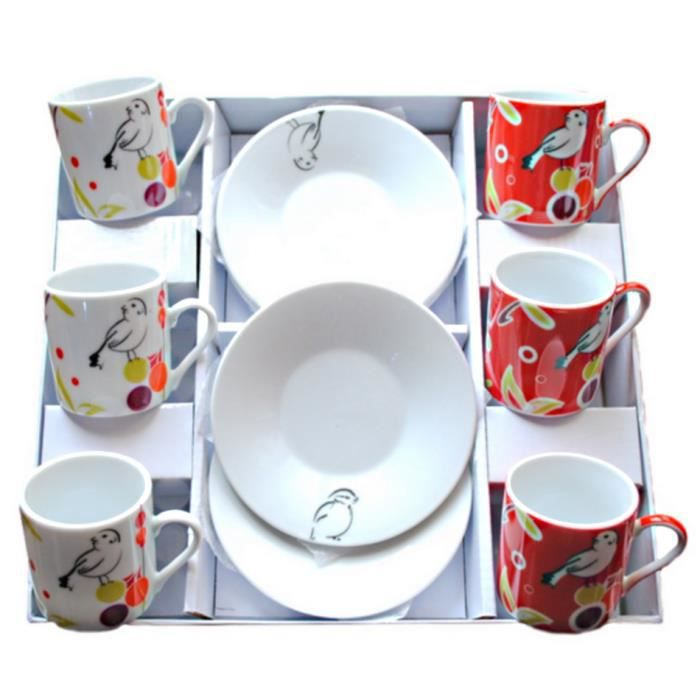 set 6 tasse a cafe porcelaine sous tasse oiseau va achat vente service th caf cdiscount. Black Bedroom Furniture Sets. Home Design Ideas