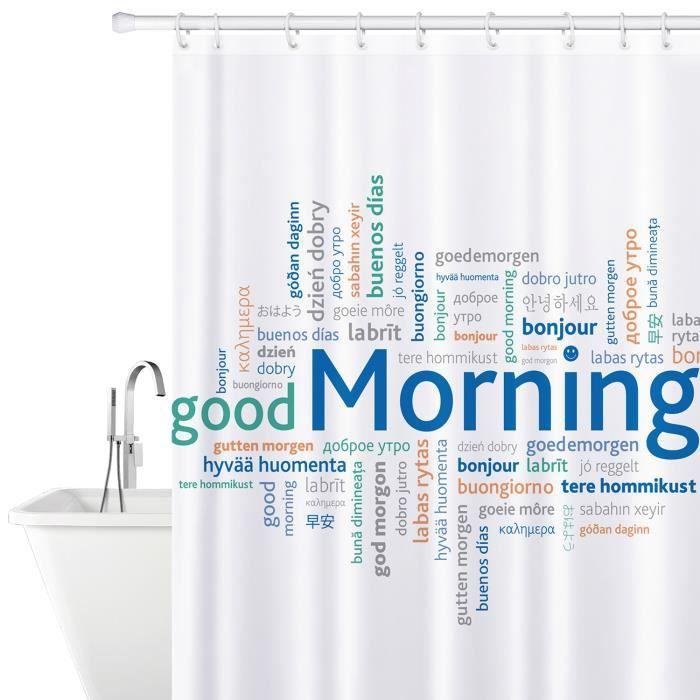 RIDEAU DE DOUCHE Tatkraft Good Morning Rideau de Douche Tissu 180X1