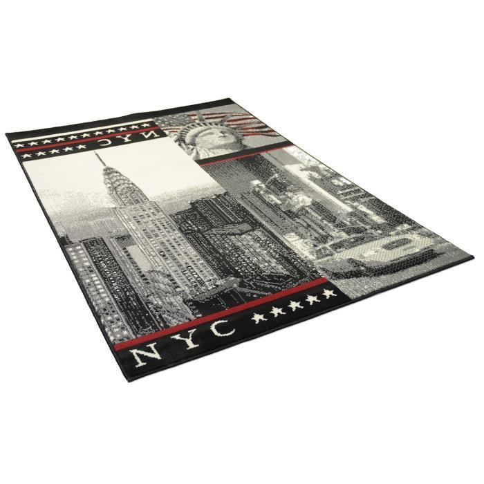 tapis salon new york nyc gris rouge universol achat vente tapis cdiscount. Black Bedroom Furniture Sets. Home Design Ideas