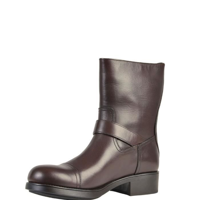 PRADA HOMME 942590723345 MARRON CUIR BOTTINES
