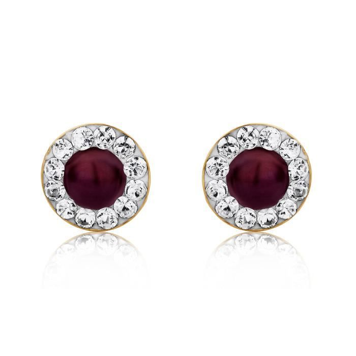 Miore9ct Yellow Gold Ruby And Swarovski Elements Stud Earrings 1CPLWC
