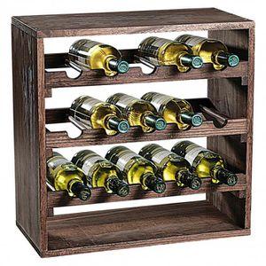 MEUBLE RANGE BOUTEILLE Etagère carré pour bouteilles à vin - 3 niveaux