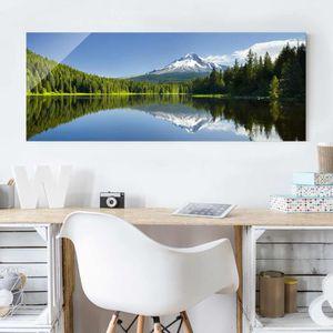CADRE PHOTO 40x100 cm verre image - volcan avec la réflexion d
