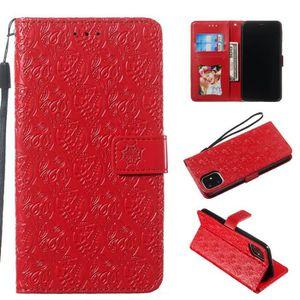 COQUE - BUMPER Coque iPhone 11,Rouge Indien Cuir Premium Porte-ca