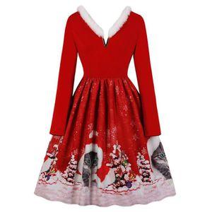 Fashion Women/'s New Noël Grande Taille Nœud Père Noël Imprimé Robe Vintage 9