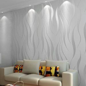 PAPIER PEINT Papier Peint Mural Luxe 3D 10M - Argenté Gris