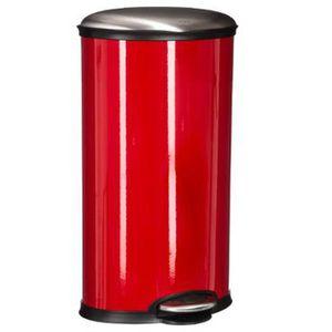POUBELLE - CORBEILLE Poubelle ovale en acier inoxydable, coloris rouge