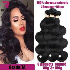 PERRUQUE - POSTICHE 3 tissage bresilien ondulé 7A cheveux naturels vir