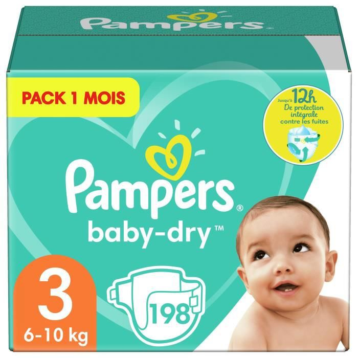 COUCHE PAMPERS Baby Dry Taille 3 - 5 à 9kg - 198 couches