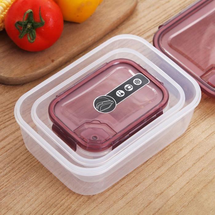 3PCS plastique spécial four à micro-ondes avec boîte à lunch à couvercle - boîte à lunch à bacs à légumes - vin rouge