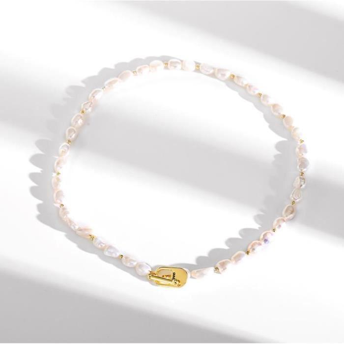 Collier En Perles De Perles Blanches Plaqué Or Gold