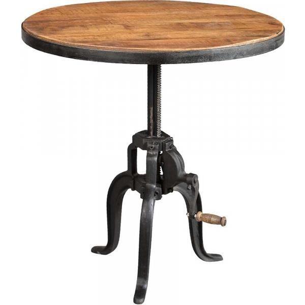 Table ronde fer forgé et bois avec manivelle - 70 x 45 cm