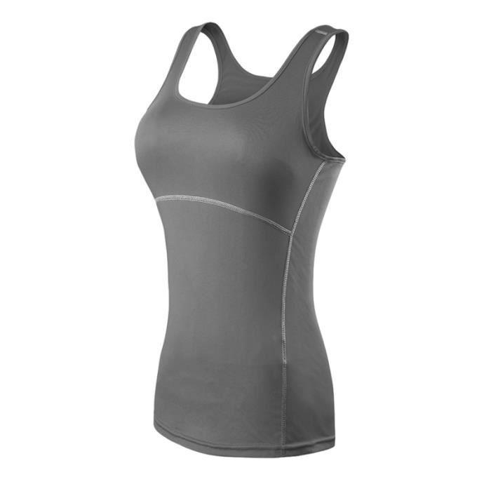 Femmes Running Tight Sport Gilet Yoga Gym Fitness débardeurs sans manches Taille S (Gris) COAT - JACKET