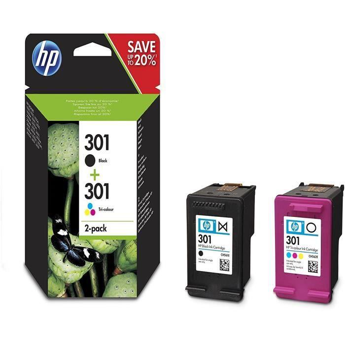 Pack de 2 cartouches d encre noir et 3 couleurs HP 301