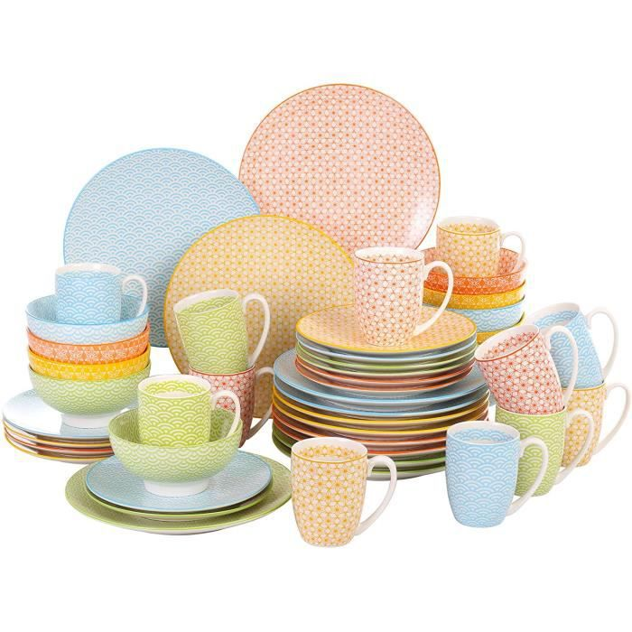 SERVICE A CAFE vancasso, s&eacuterie Natsuki, Service de Table, 48 pi&egraveces, pour 12 Personnes, Style Japonais, 4 Couleurs100