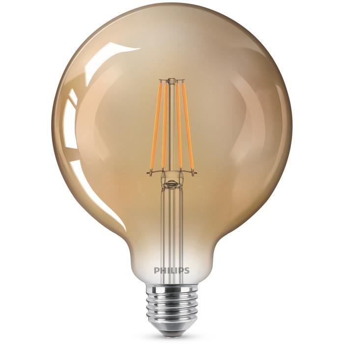 PHILIPS Ampoule LED Globe E27 -  7W équivalent 50W -  finition ambrée -  filament blanc chaud compatible variateur