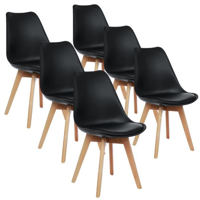 Lot de 6 chaises - Scandinave - Pieds bois - avec Coussin Noir