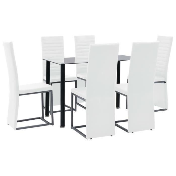 Style Vintage Rétro Set Table et 6 Chaises - Ensemble à dîner 7 pcs Acier et verre trempé Noir et banc Ensemble repas de jardin•2872