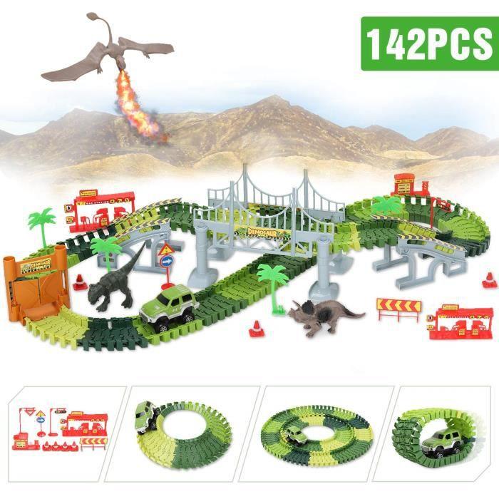 Circuit Voiture Dinosaure Flexible Electrique Jouet, Dinosaur Track Toy pour Cadeau Jeux Educatif Garcon Fille Enfant