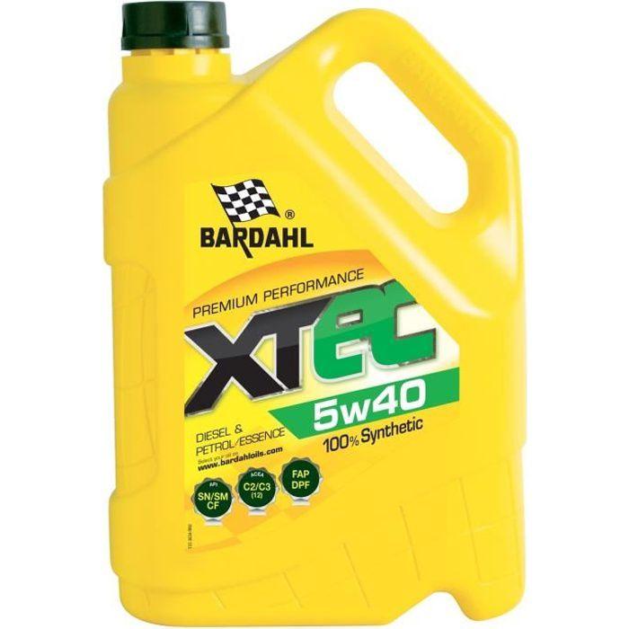 BARDAHL XTEC 5W40 Huile Moteur 100% Synthétique Essence & Diesel 5L