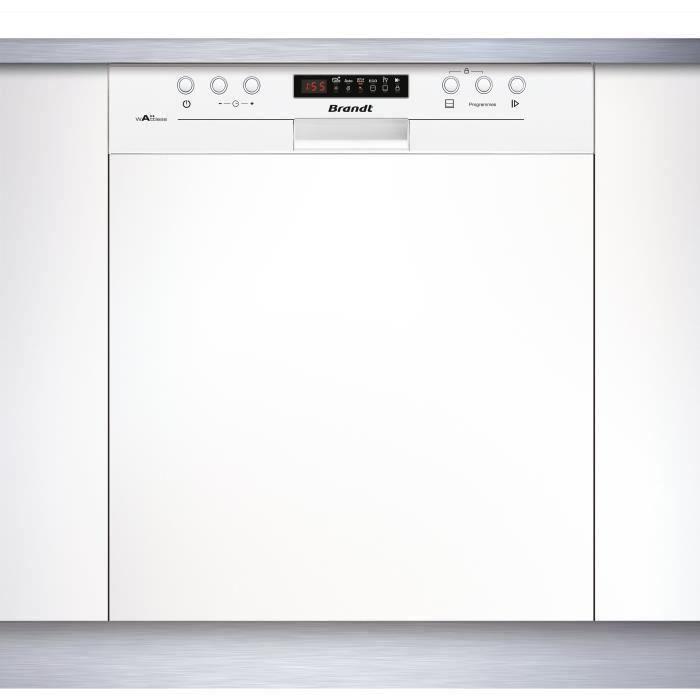 BRANDT VH15W - Lave vaisselle encastrable - 13 couverts - Silencieux 44 dB - A++ - Larg 60 cm - Bandeau Blanc