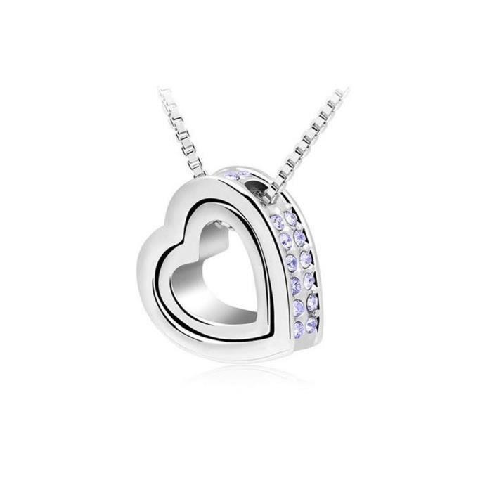 Collier pendentif coeur violet pierres Swarovski Elements avec pendentif coeur en argent à l'intérieur magnifique cadeau