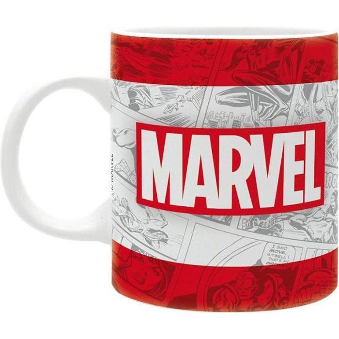 Tasse Marvel Logo classique blanc, imprimé, en céramique, capacité environ 320 ml. 9,5 cm x 8 cm