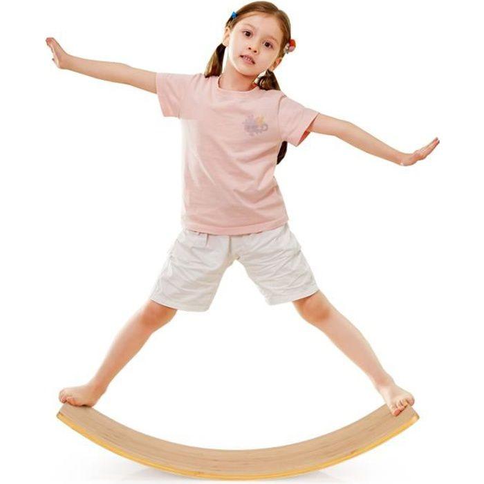 COSTWAY Planches d'Equilibre Entraînement à Bascule en Bambou avec Bords Arrondis 90,5 x 30 x 16,5 cm Charge 150 kg pour Tout-petits