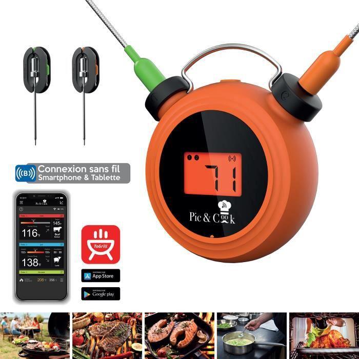 MAJORD'HOME PIC&COOK : Thermomètre de cuisson Bluetooth avec sonde et application smartphone pour barbecue / plancha / four