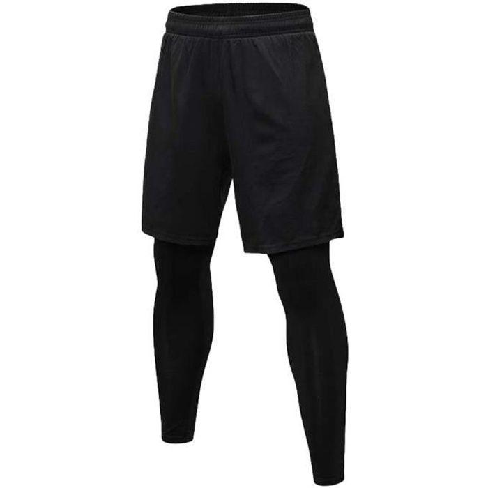 Short de Fitness 2 en 1 pour Homme avec Legging de Compression Pantalon de Running Séchage Rapide Collant de Sport - Noir, CN S