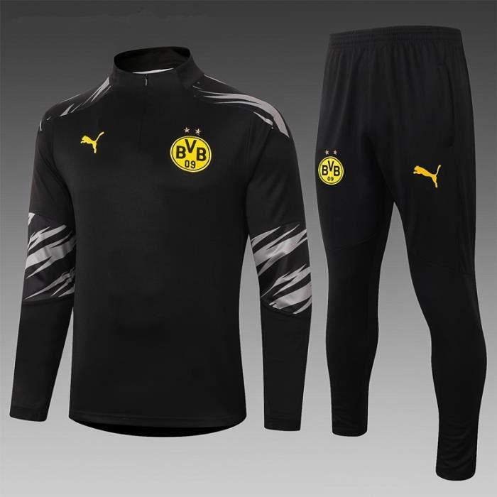 Survêtement Foot Homme BVB Dortmund,Maillot Foot Enfants Garçon Homme 2021 Survêtement Foot Maillot de Foot,Haut et Pantalon