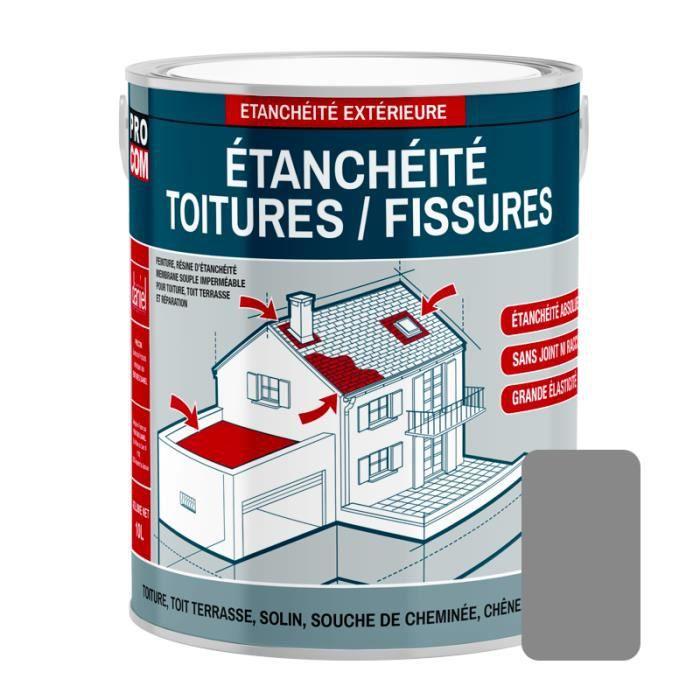 Peinture d'étanchéité pour toiture, réparation tuiles, fissures, anti-fuites, anti-mousse, décore et protège 2.5 litresGris 2,5