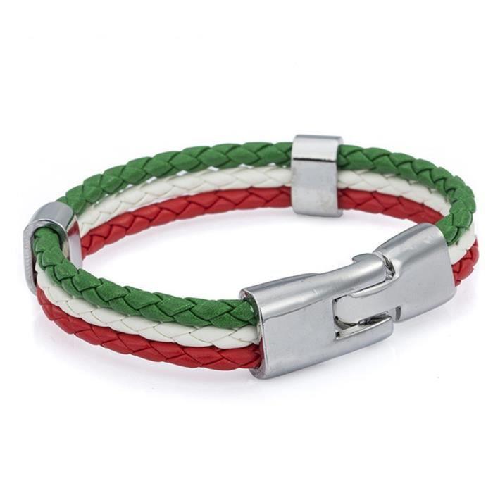 TRIXES Bracelet Tressé Thème Tricolore Italien Unisexe Vert Blanc Rouge 3 Brins pour Événements sportifs et Célébrations Nationales