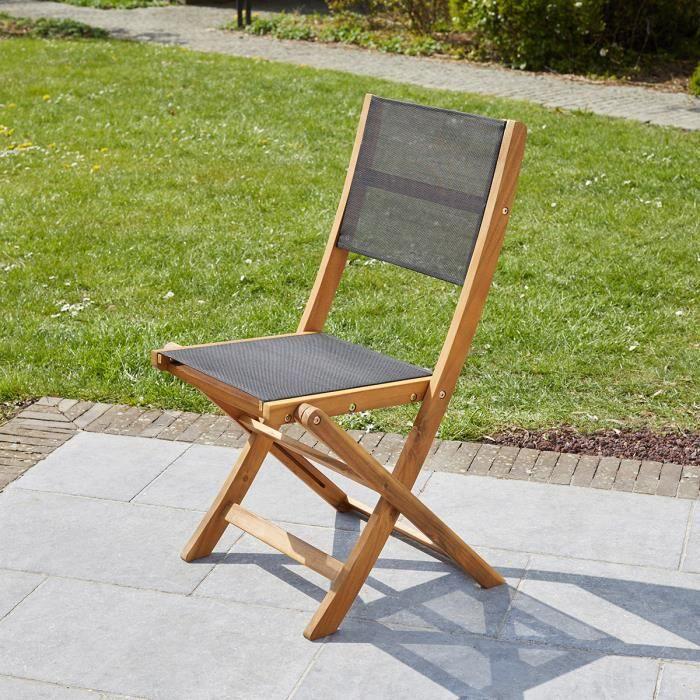 Chaise pliante en bois d'acacia et textilène noir Wilsa