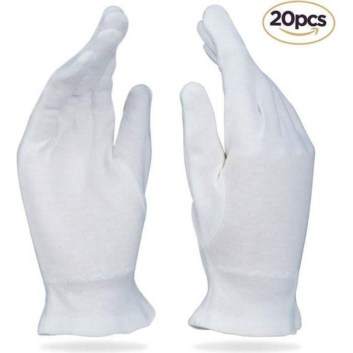 Gants Coton Blanc Lot de 10 paires Taille L pour feme
