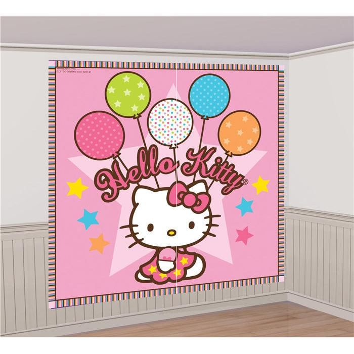 d coration murale hello kitty achat vente affiche drapeau cdiscount. Black Bedroom Furniture Sets. Home Design Ideas